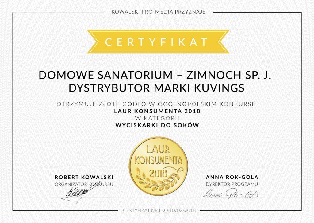 certyfikat laur konsumenta 2018 Domowe Sanatorium Zimnoch Sp.J.